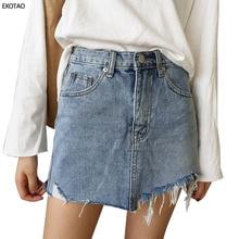 2017 calças de Brim Verão Saia de Cintura Alta Mulheres Jupe Bordas Irregulares Saias Jeans Lavado Feminino Mini Saia Faldas Saia Lápis Ocasional