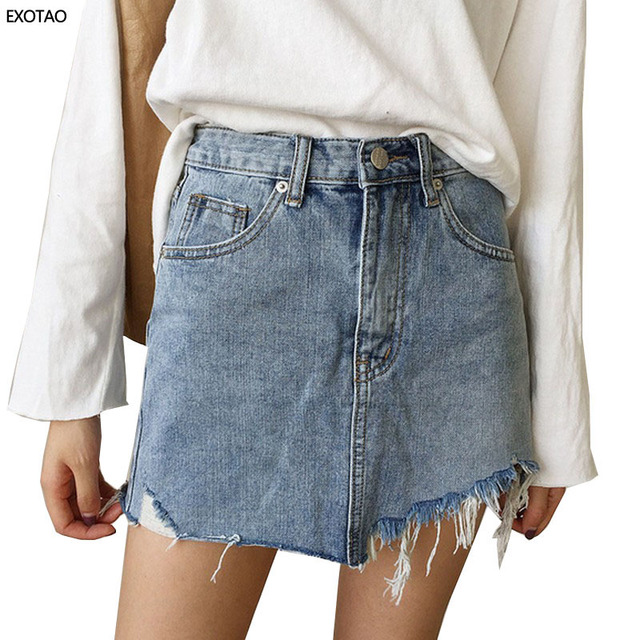 EXOTAO verano Jeans falda mujer alta cintura Jupe bordes irregulares Faldas de mezclilla mujer Mini Saia lavado falda Casual lápiz falda