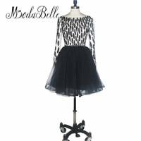 Modabelle Girl Tulle Fluffy Beads Short Prom Dresses Black High School Homecoming Dresses With Sleeves Vestidos