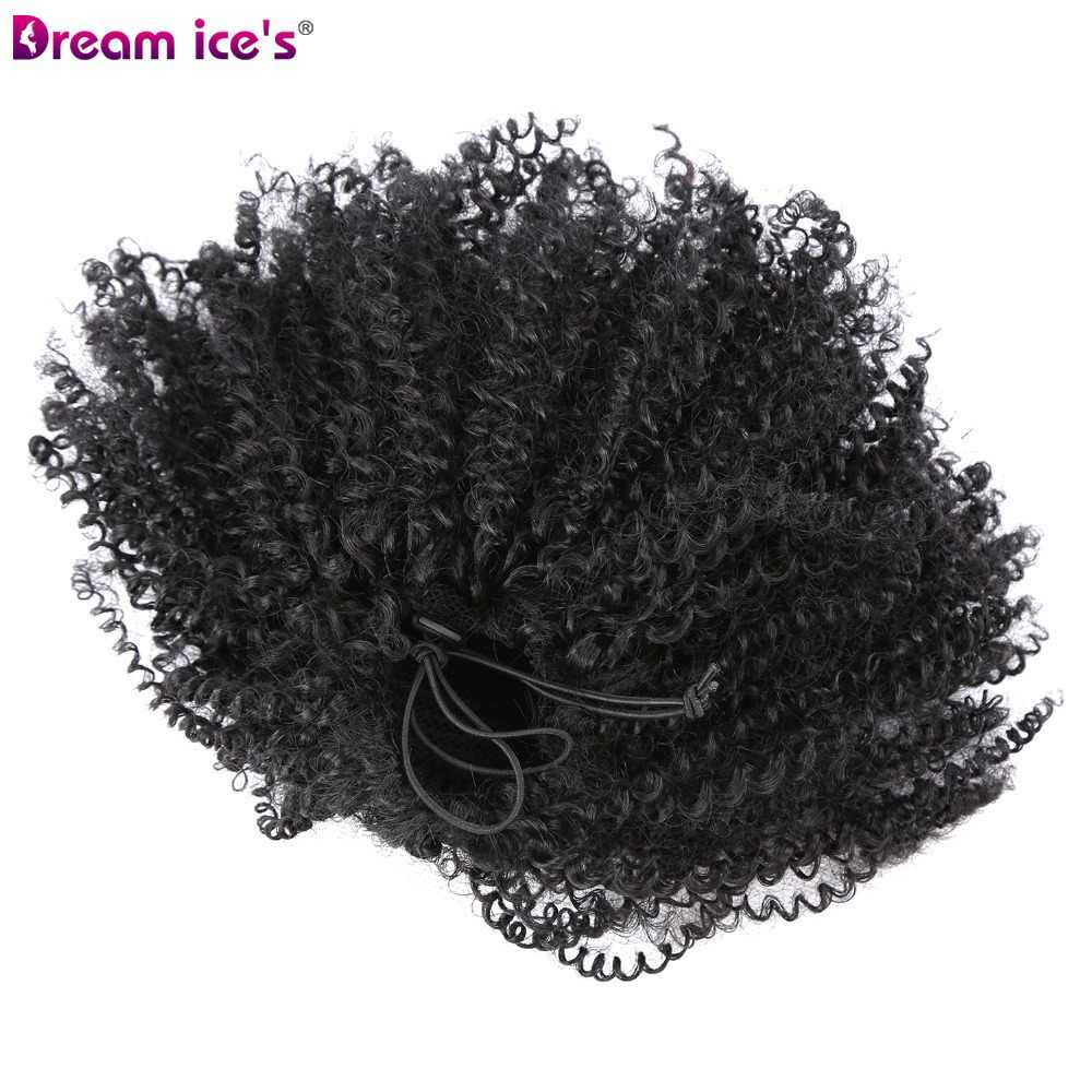 Extensiones de pelo de cola de caballo con cordón rizado Afro sintético largo de Dream ice envolver pony con clips en piezas de pelo