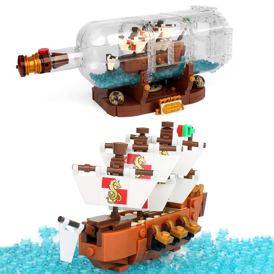1078Pcs Minecrafted Onepiece Boat In The Bottle Building Blocks Compatible Legoed City Pirate Ship Interactive Toys