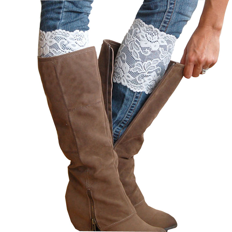 Women Lady Hollow Crochet Knitted Lace Elastic Stretch Flower Lace Boot Cuffs Leg Warmers Trim Toppers Socks Decoration