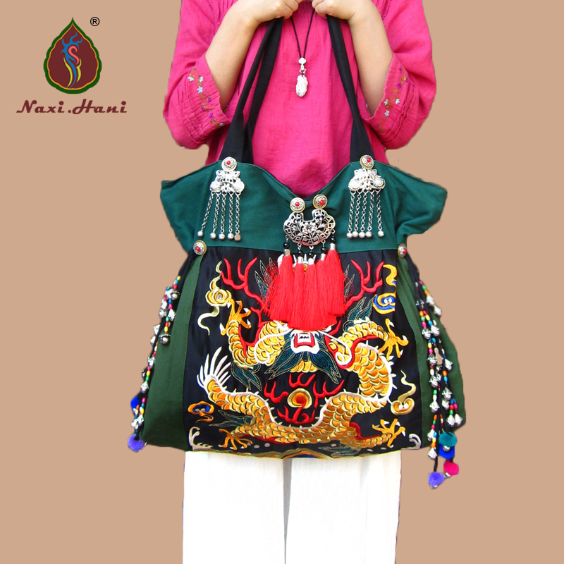 NEWEST Double side embroidery bags Ethnic green canvas Large pattern women bags DIY Travel Shoulder bags