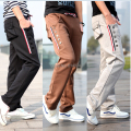 2015 new arrival during spring autumn unique pocket side buckle design waist ribbon tether men's Casual sweatpants joggers
