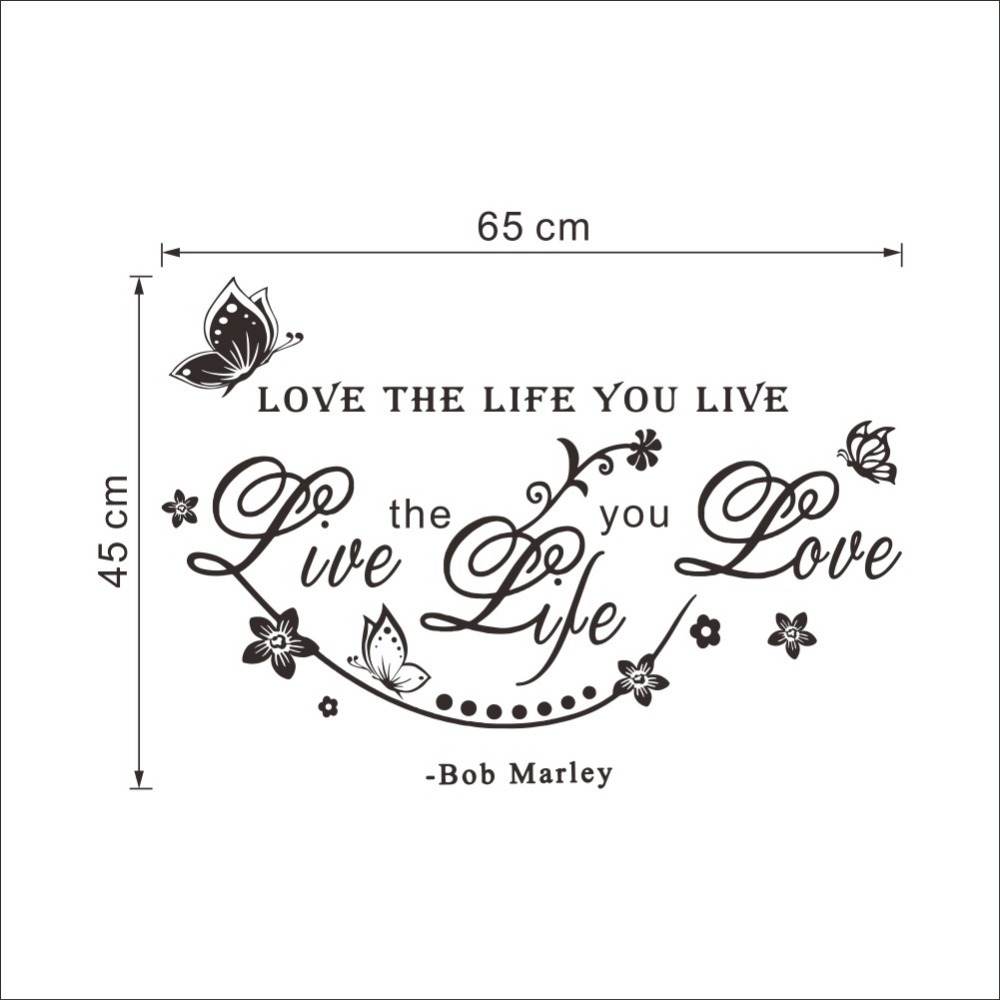 Aliexpress Buy &% bob Marley Room Wall Sticker love the life you live DIY Poster TV Background Wall butterfly and Vine Home Decor living room from
