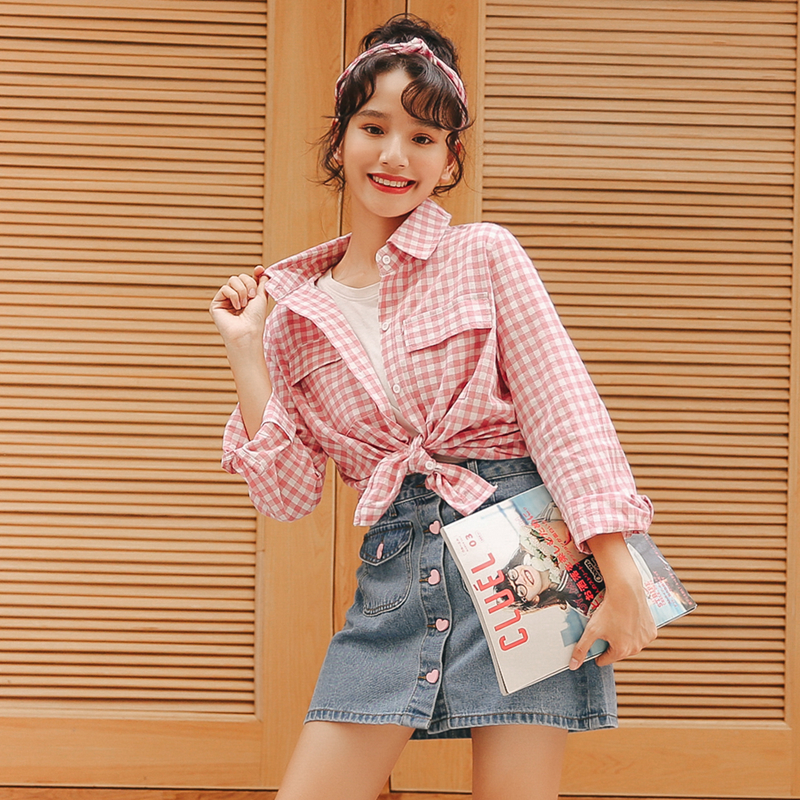 Womens Shirts Lady Kawaii Ulzzang Vintage Loose Bf Plaid Sanded Shirt Girl Punk Harajuku Tunic For Women Female Ladies Clothing Online Shop Women's Clothing