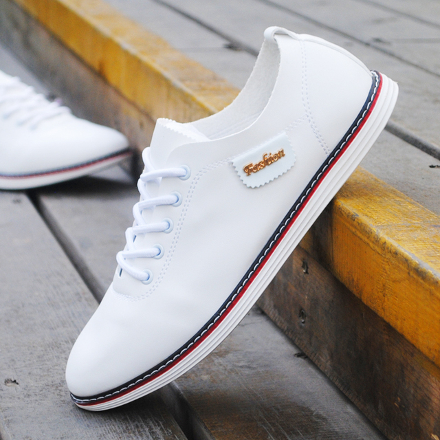 Nice New Summer Men Shoes White Casual Shoes Low Breathable Pu Leather Flat Shoes  Fashion Lace
