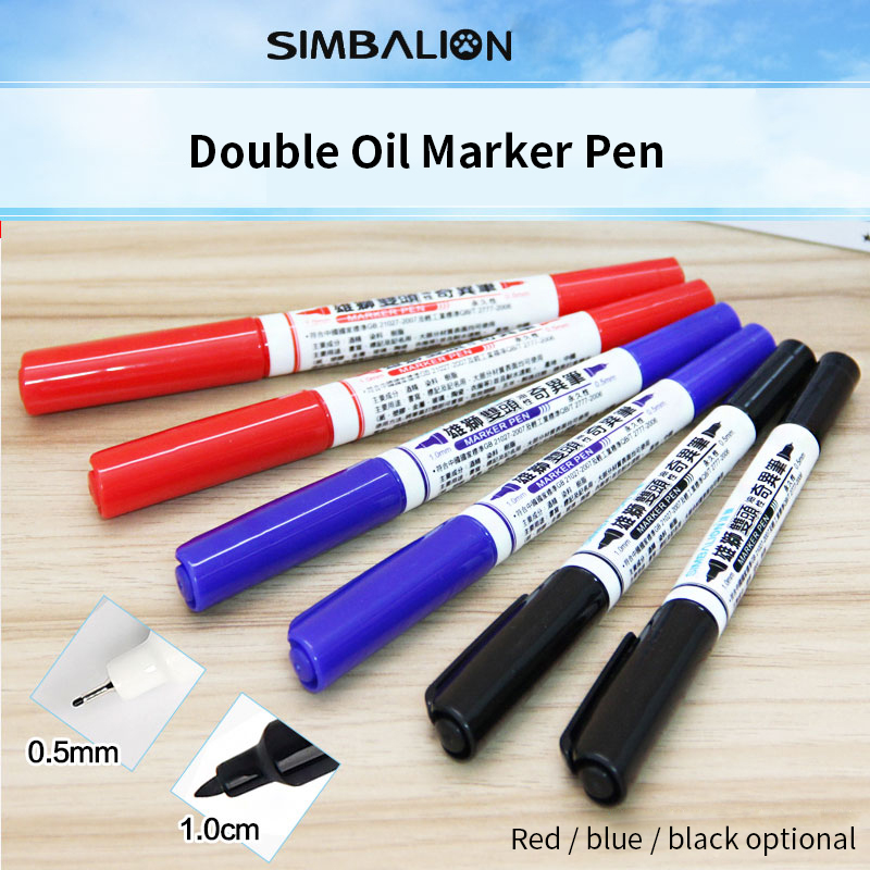12Pcs/set Red/Blue/Black colors Artist Double Oil Marker Pen Permanent Markers Pen Non Toxic Design Mark Pen For DIY Drawing lucamino sports wooden wing chun butterfly double swords training knife bart cham dao red black colors 1 pair wholesales