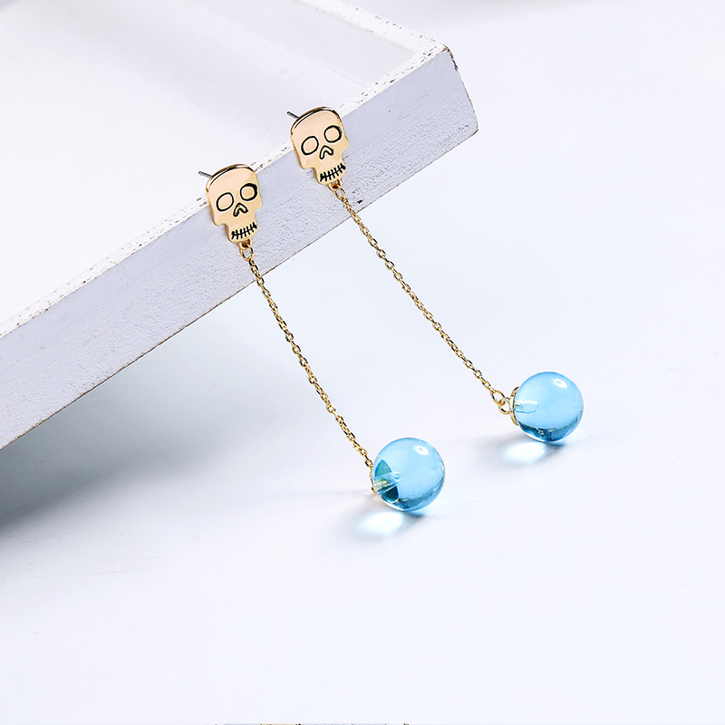 BALANBIU Characteristic Skull Unique Cambridge Blue Glass Ball Drop Earring For Women Gifts Gold Color Long Chain Dangle Earring