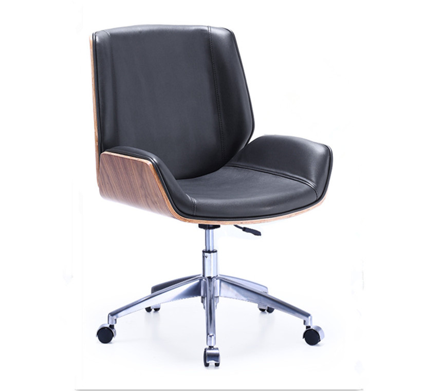 Mid-Back Bentwood Swivel Conference Chair in Micro Fiber Leather Commercial Furniture For Home Office, Conference Task Chair the boss chair conference reception negotiation of large chair recreational office leather chair