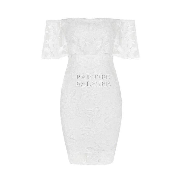De Partie New Mini Hors Summer Courtes Sleevles Floral 2019 Chic Soirée Gracieux Célébrité Blanc Dentelle L'épaule Sexy Robe Bandage zCSTwS