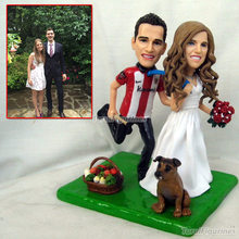 couple figure lovers gift with family pet bride flowers wedding cake topper dolls party present favor little statue