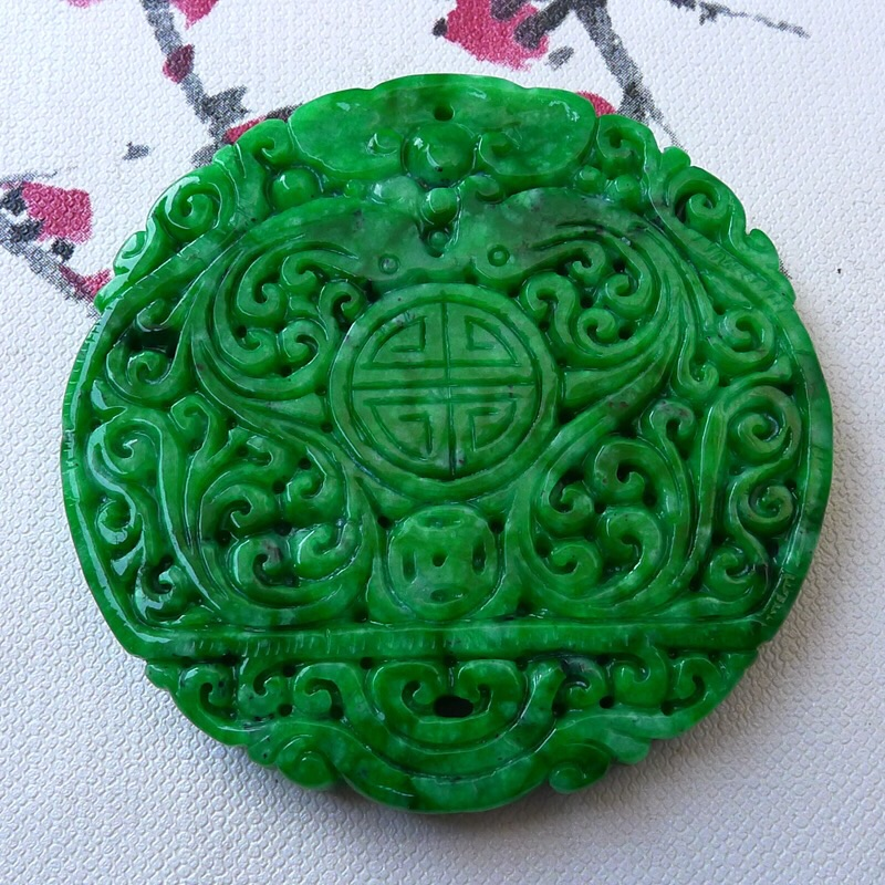 TJP Natural jadeite Emperor Yang green Spicy green carved Wushi brand loves Yupei Myster ...