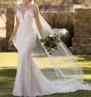 Robe de mariee Sexy Backless Lace Mermaid Wedding Dress Court Train Bride Dress 2018 Abiti da sposa