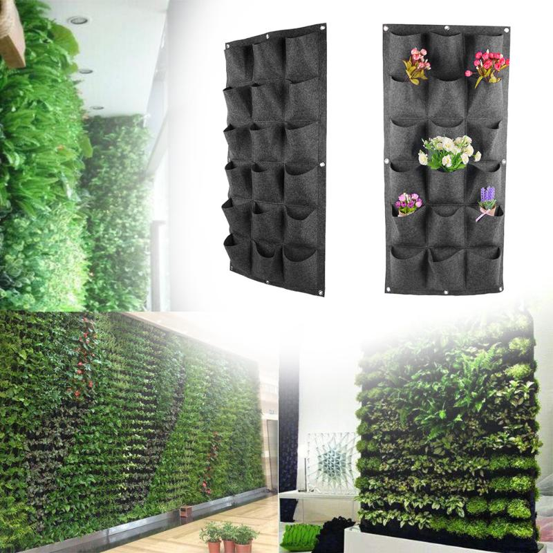 18 Pockets Non-woven Planting Bag Garden Vertical Hanging Wall Green Plant breathable Home Gardening Decorative Plant Grow Bag