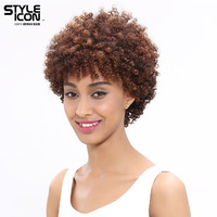 Styleicon Wig Brazilian Hair Afro Kinky Curly Wig Weave Bundle Short Machine Made Wigs Remy Human Hair Wigs For Black Women
