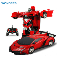 2In1 RC Car Sports Car Transformation Robots Models Remote Control Deformation Car RC Fighting Toy KidsChildren