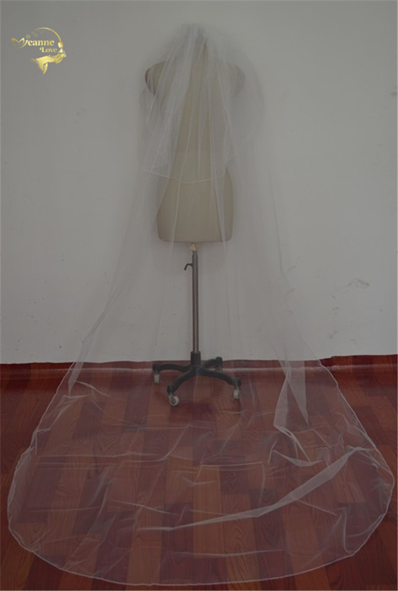 330 cm Long Velos De Novia Wholsale Simple White Ivory Tulle For Bridal Wedding Veil Wedding ACCESORIES Comb OV0004