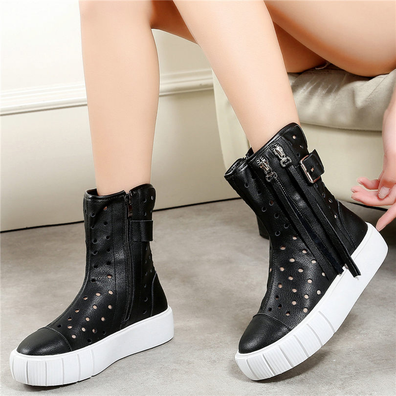 NAYIDUYUN  Punk Summer Sneakers Women Cow Leather High Heel Gladiator Sandals Wedges Platform Tassels Oxfords Casual Shoes 2019