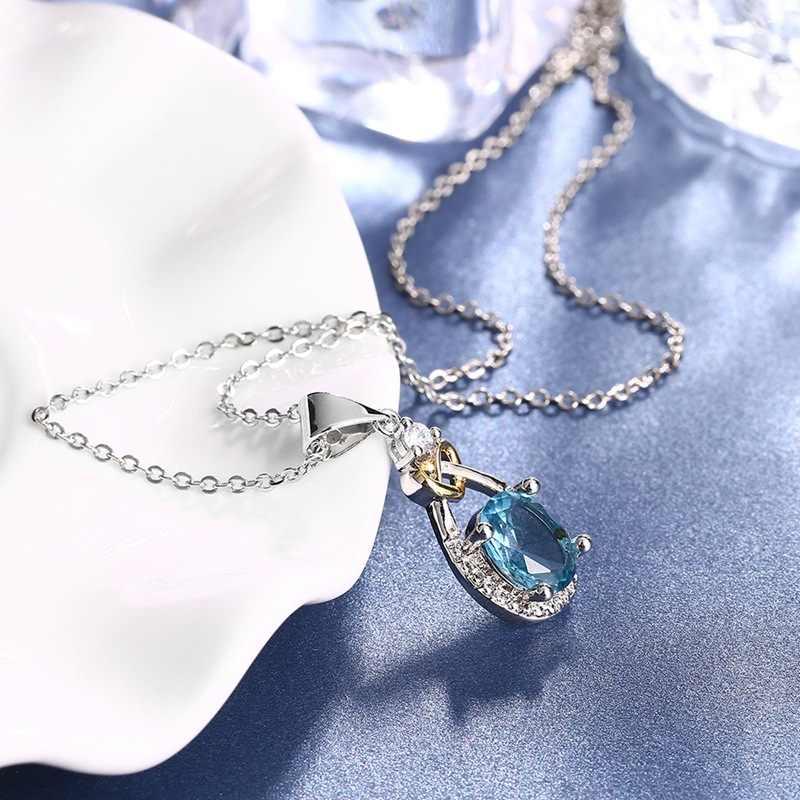 925 Sterling bạc Trang Sức Giọt Nước Necklace & Mặt Dây Màu Xanh Đá CZ Engagement Vòng Cổ Đám Cưới cho Đảng Phụ Kiện CCN101