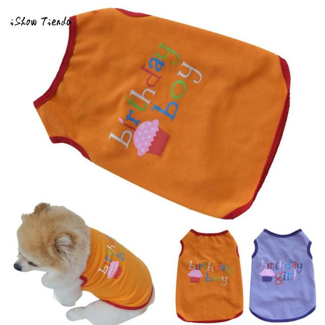 ISHOWTIENDA High Quality Cotton Print Happy Birthday Dog Striped Summer Vest Pet Clothes For Dress