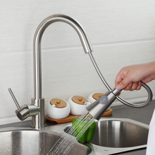 Никель Матовый Pull Out вниз спрей палуба поток крепление одной ручкой умывальник кухня torneira Cozinha K-5525 смеситель кран