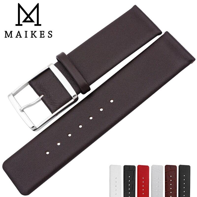MAIKES Haute Qualité CK Véritable Bracelet En Cuir 16mm 18mm 20mm 22mm bande de Montre De Courroie Pour CALVIN KLEIN Bracelet Accessoires