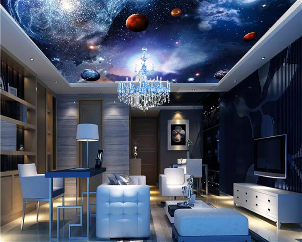 beibehang Custom personalized decorative painting stereoscopic wallpaper Starry sky Galaxy ceiling wall papers home decor behang in Wallpapers from Home Improvement