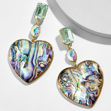 Fashion Big Lovery Heart Drop Dangle Earrings For Women Boho Crystal Green Abalone Shell Statement Jewelry Beach Party Gift ZA(China)