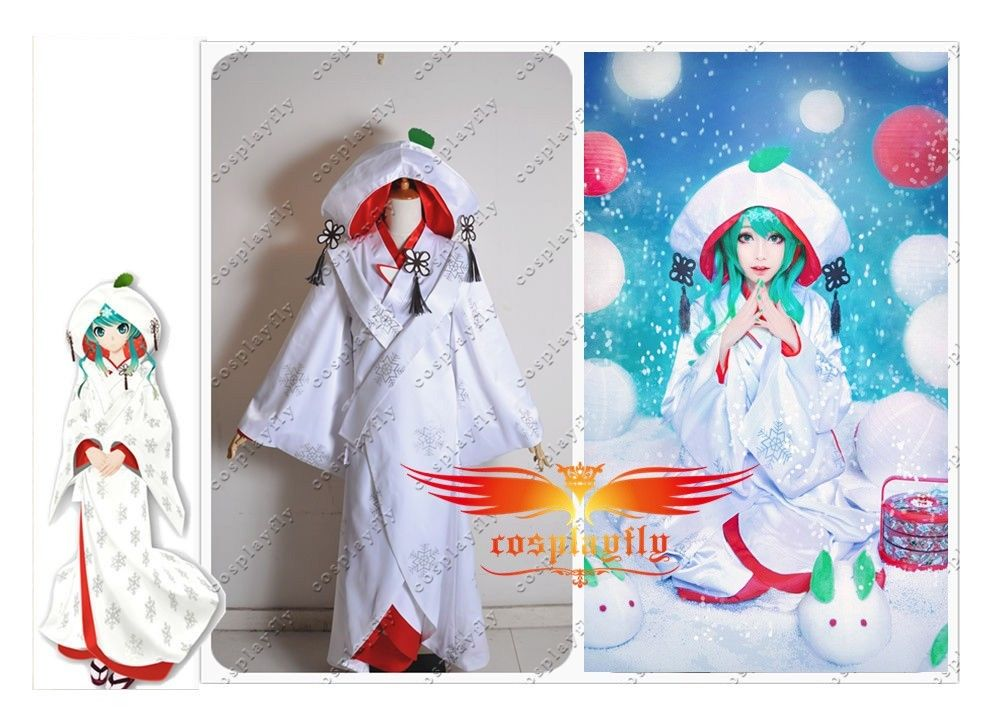 Vocaloid Edition Snow Miku Marry Suit Vocaloid Cosplay Costume Custom Adult Women Outfit Clothing Dress White Japanese Kimono