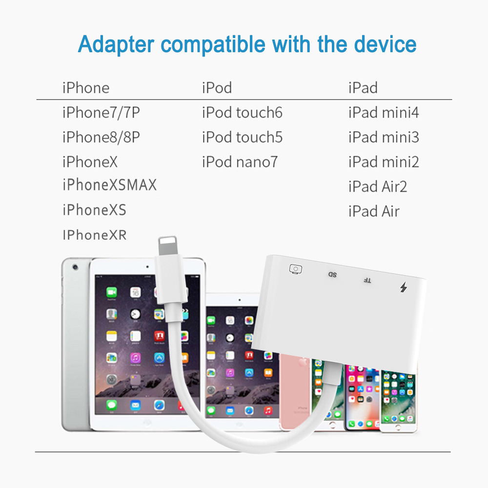 4 in 1 SD TF Card Camera Connection Kits for Lightning to USB Camera Reader adapter OTG Cable for iphone X 8 8pls 7 for ipad Air