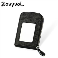 ZOVYVOL 2019  Unisex 11 Color Blocking Wallets With RFID Genuine Leather Zipper Credit Card Holder ID And Holders