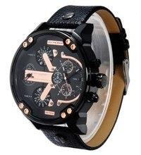 Новый Мужчины Часы Военные Наручные часы мужские Кварцевые Спортивные Часы кожа relogio masculino