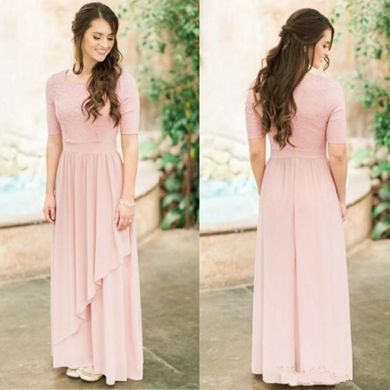 Holievery Light Pink Long   Bridesmaid     Dresses   With Half Sleeves Lace Chiffon Country Wedding Party   Dress   Boho Maxi Gowns