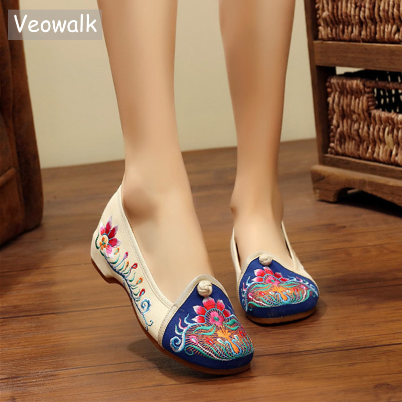 Veowalk Vintage Women's Casual Cotton Fabric Floral Embroidered Ballet Flats Ladies Casual Canvas Embroidery Shoes Zapatos Mujer