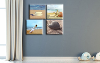 4 Pcs Romantic Love Stone Sandy Beach Canvas Wall Art Starfish Canvas Print Paintings Drift bottle Wall Pictures for Living Room