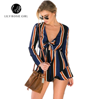 Women Sexy Bow Hollow Out Striped Jumpsuit Romper Summer Style Beach Party Frill Hem Playsuit Short