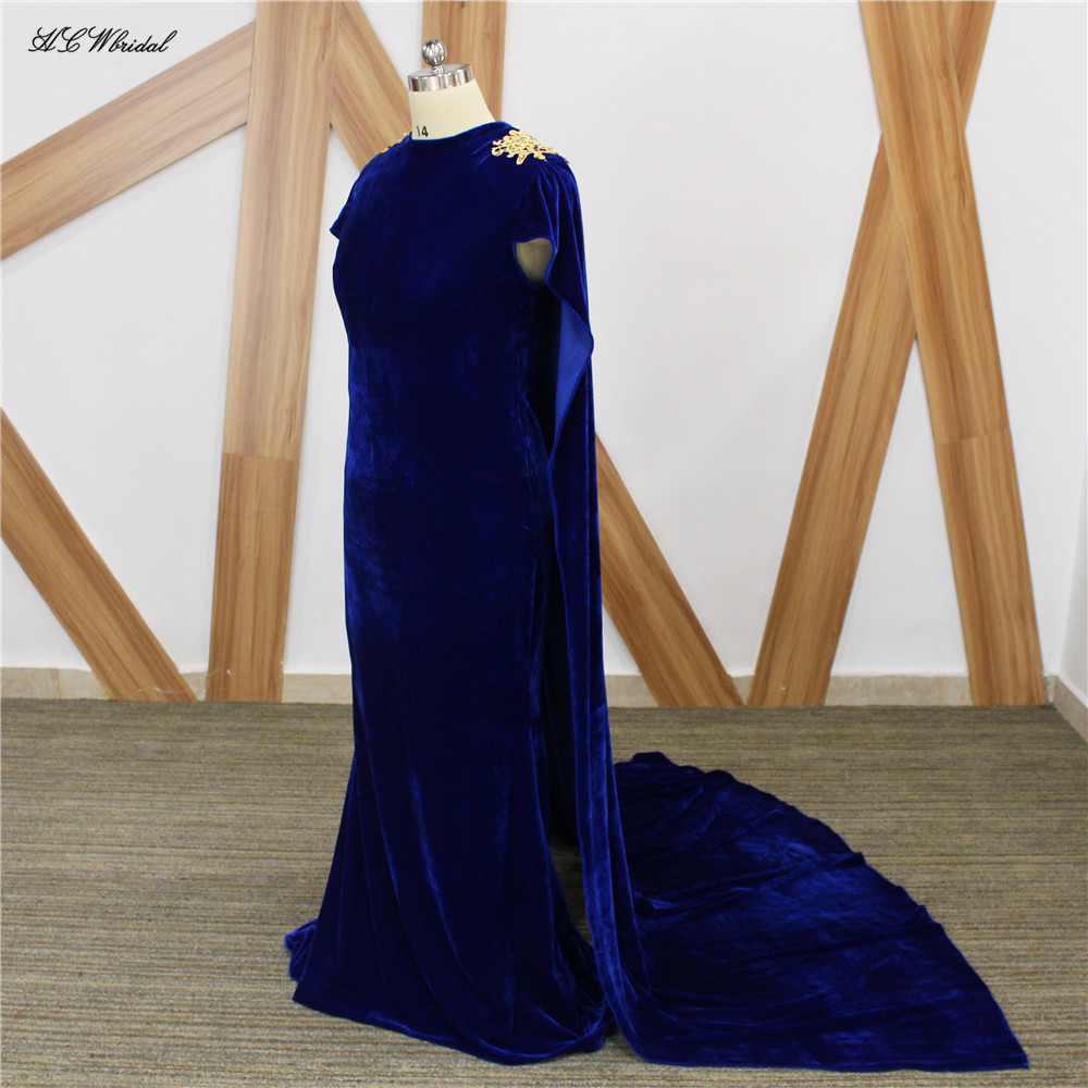 Royal Blue Velvet Mermaid   Evening     Dress   With Cloak 2019 Elegant Floor Length Long Formal Prom Gown Vestido De Fiesta Custom Made