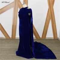 Royal Blue Velvet Mermaid Evening Dress With Cloak 2019 Elegant Floor Length Long Formal Prom Gown Vestido De Fiesta Custom Made