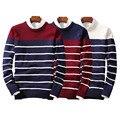 FUNOC 2017 Outono Inverno NOVOS Homens Suéter Listrado Puxar Homme Pullover Homens Casuais Lazer Camisa Hombre Algodão Plus Size