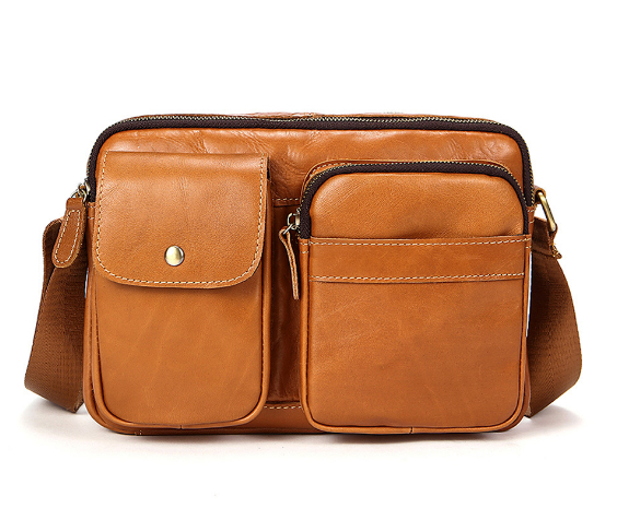 2018 men's bag Genuine leather men's shoulder bag cross section retro leisure first layer cow leather Messenger bag 2017 now houlder messenger bag genuine leather business leisure bag retro 100% cow first layer of leather bag 14inch briefcase