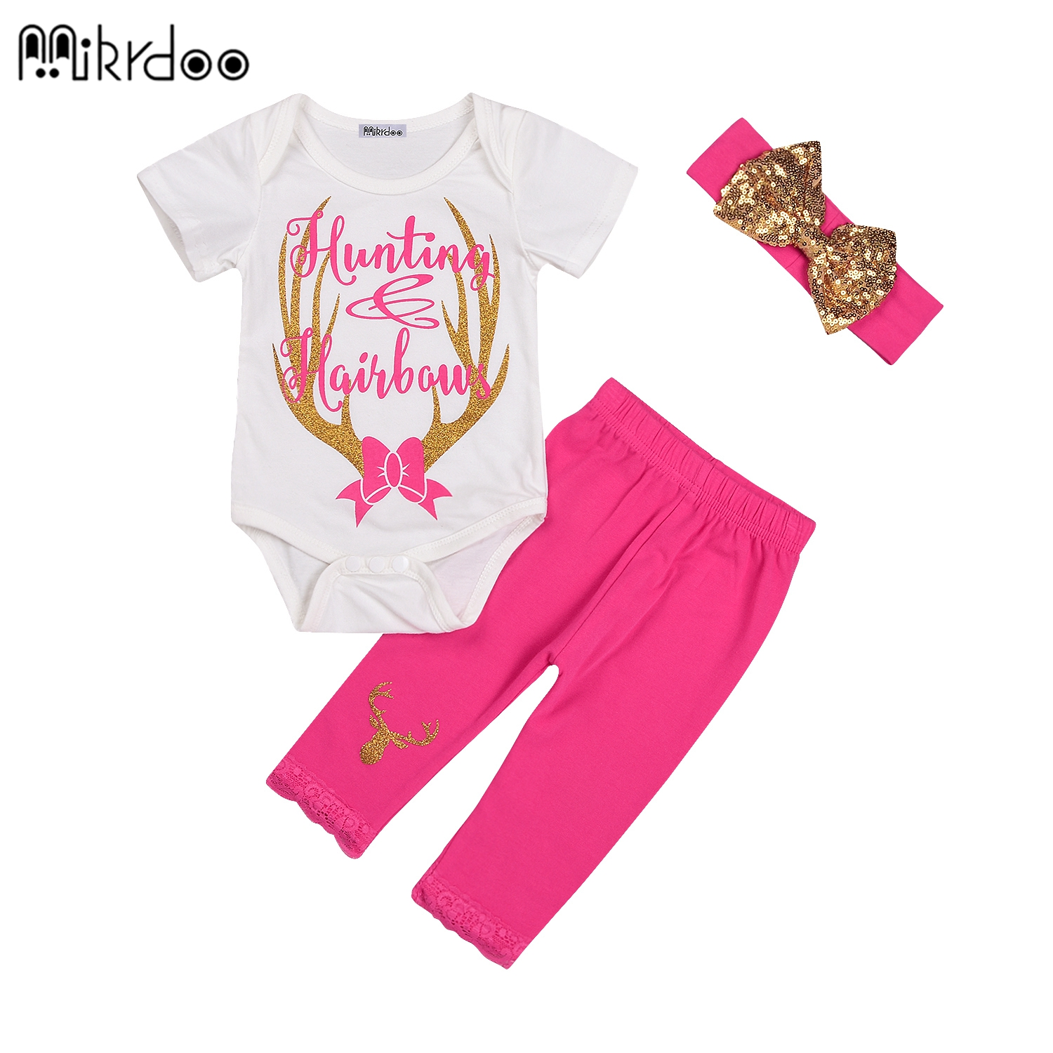 HOT SALE 3pcs/set baby girl clothes Cartoon antler pink casual pants +romper+gloden bow headband spring summer baby infant clo