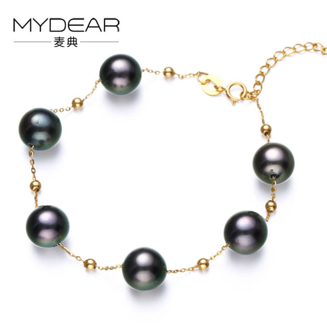 MYDEAR Pearl Jewelry The Newest Charm Style Real 8-9mm Tahitian Black Pearl Bracelets Gold Strand Bracelets,Adjustable Length