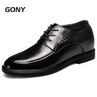 Дополнительную высоту 3,94 выше натуральная кожа Формальное мужская Свадебная обувь Высота обувь со скрытым каблуком выше 10 см
