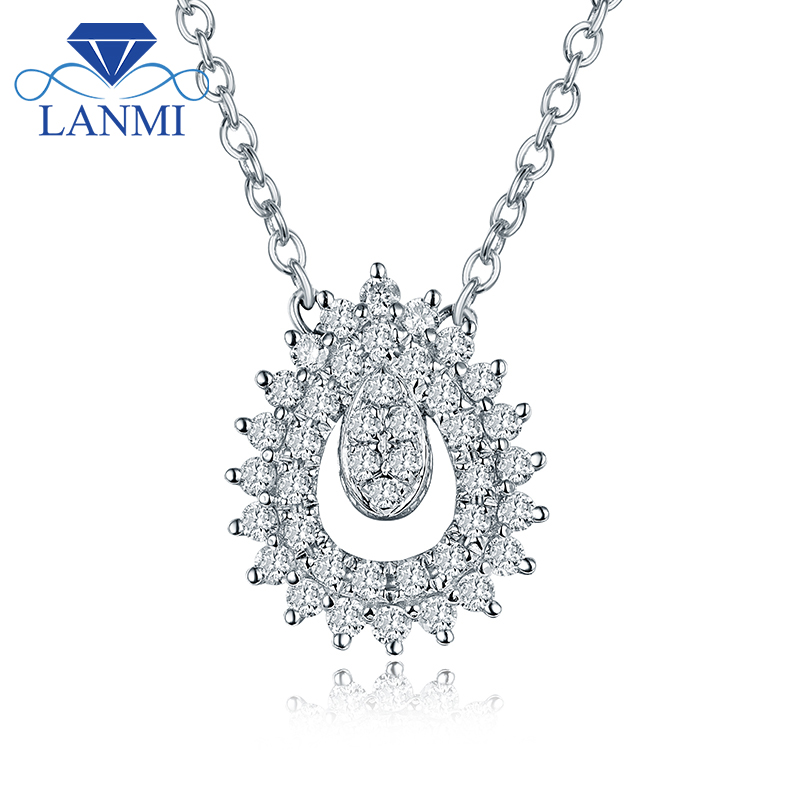 Design SI Diamond Pendant Necklace Real 18K White Gold Elegant for Wife Daughter Wedding Fine Jewelry Christmas Gift