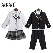 iEFiEL Kids Boys/Girls British Style School Uniform Anime Costume Suit Cosplay Shows Coat with Shirt Tie Pants/Mini Skirt Set(China)