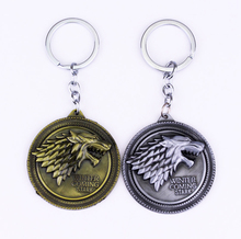 Game of Thrones Shield Keychain Wolf Head Logo House Stark High Quality Maxi Keychain Men Car Accessories Wolf Head Keyrings
