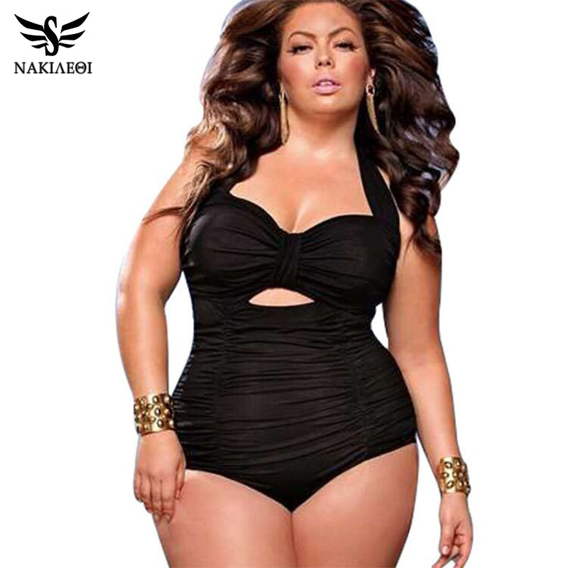 NAKIAEOI 2019 New Plus Size Swimwear Women One Piece Swimsuit Solid Swimwear Large Size Vintage Retro Swimsuit Bathing Suits-in Body Suits from Sports & Entertainment on AliExpress