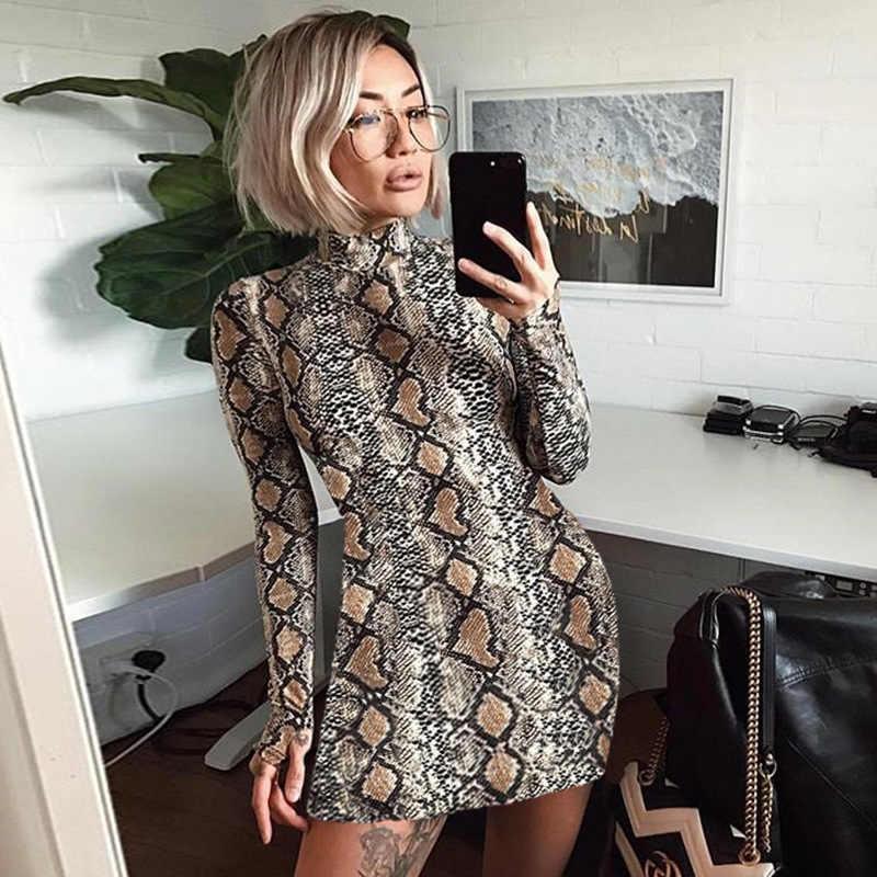 Strechy wężowej z długim rękawem mini sukienka 2018 lato jesień kobiety skóra węża druku sexy bodycon sukienek