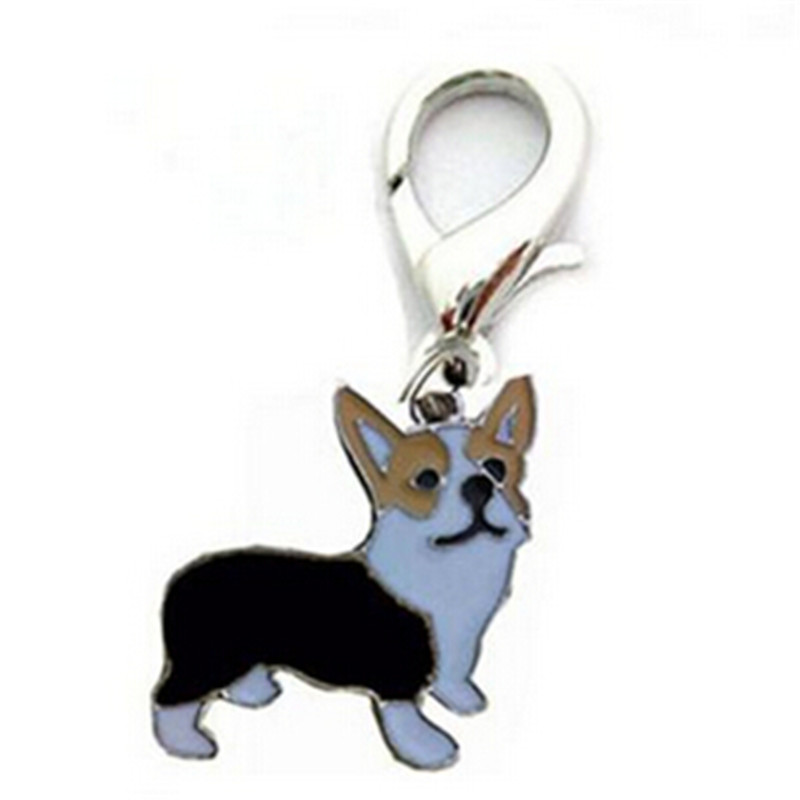 1PC cute corgi identity ID tags pendant hanging alloy collor decor items Enamel Necklace accessory on sale